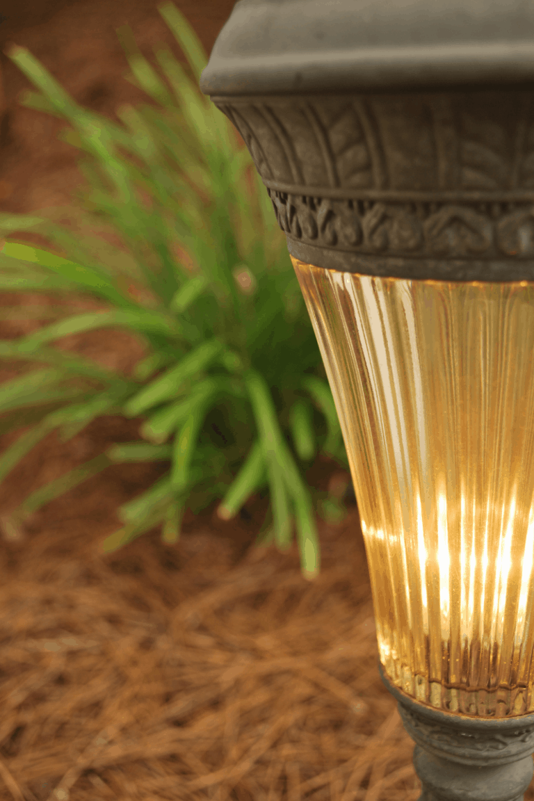 landscape path way light in pine straw